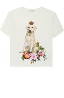 Хлопковая футболка с принтом и аппликациями Dolce & Gabbana
