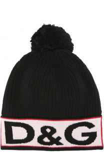 Вязаная шапка с логотипом бренда на отвороте и помпоном Dolce & Gabbana