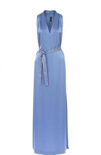 Платье-макси с поясом и высоким разрезом St. John