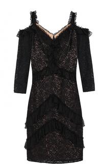 Кружевное облегающее платье с открытыми плечами Tadashi Shoji