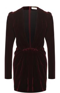 Бархатное платье с глубоким V-образным вырезом Saint Laurent