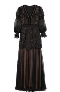 Приталенное платье-макси с V-образным вырезом Tadashi Shoji