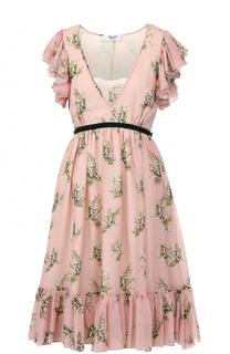 Платье-миди с оборками и цветочным принтом Blugirl