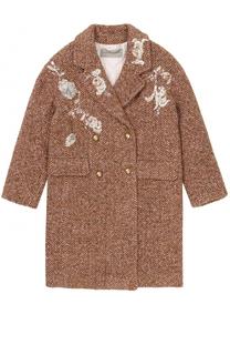 Двубортное пальто прямого кроя с вышивкой и пайетками Ermanno Scervino