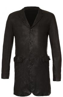 Кожаное однобортное пальто Salvatore Santoro
