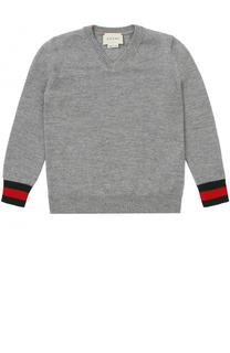 Шерстяной пуловер с V-образным вырезом и контрастной отделкой Gucci