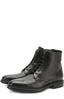 Кожаные ботинки с внутренней меховой отделкой BOSS
