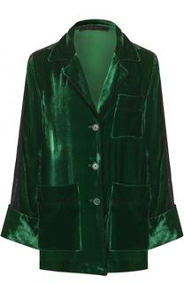 Бархатная блуза в пижамном стиле Elie Saab