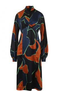Шелковое платье с завышенной талией и принтом Dries Van Noten