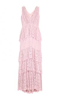 Кружевное платье-макси с оборками Tadashi Shoji