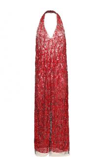 Платье с открытой спиной и пайетками Dries Van Noten