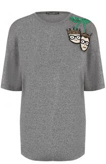 Удлиненная футболка с вышивкой пайетками Dolce & Gabbana