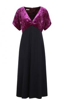 Платье с завышенной талией и бархатным лифом Dries Van Noten