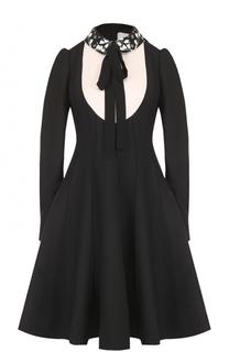Приталенное платье-миди с декорированным воротником Valentino