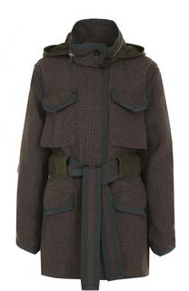 Пальто с накладными карманами и поясом Sacai