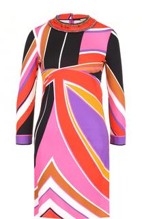 Мини-платье с укороченным рукавом и принтом Emilio Pucci