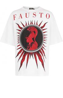 Хлопковая футболка с принтом Fausto Puglisi