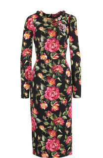 Приталенное платье-миди с длинным рукавом и принтом Dolce & Gabbana
