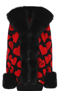 Вязаное пальто с отделкой из меха лисы Philipp Plein