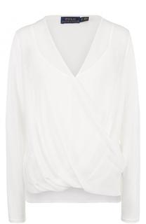 Блуза с драпировкой и V-образным вырезом Polo Ralph Lauren