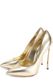 Туфли из металлизированной кожи на шпильке Blade Casadei
