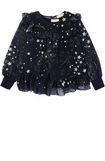 Блуза с оборками и принтом в виде звезд Monnalisa
