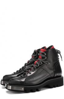 Кожаные ботинки с металлической отделкой на шнуровке Dsquared2