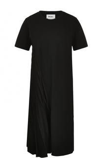 Платье свободного кроя с плиссировкой DKNY
