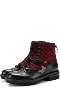 Кожаные ботинки с текстильной вставкой на шнуровке Dsquared2