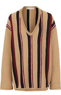 Пуловер свободного кроя с V-образным вырезом Marni