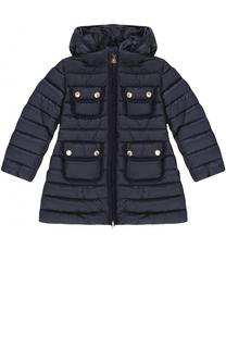 Пуховое пальто с капюшоном и накладными карманами Moncler Enfant