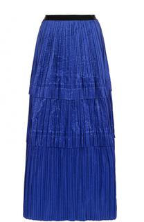 Шелковая плиссированная юбка-макси Oscar de la Renta