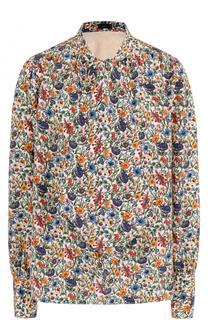 Шелковая блуза с принтом и воротником аскот Joseph