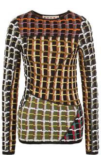 Приталенный пуловер с круглым вырезом и принтом Marni
