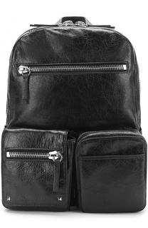 Кожаный рюкзак с внешними карманами на молнии Valentino