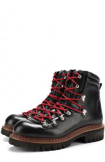 Кожаные ботинки на контрастной шнуровке Dsquared2