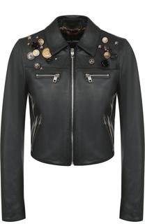 Кожаная куртка с декоративной отделкой Dolce & Gabbana