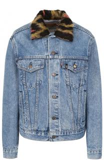 Джинсовая куртка с потертостями и декорированным воротником R13
