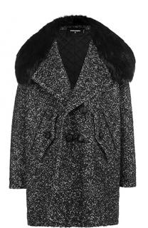 Двубортное пальто свободного кроя с отделкой из меха нутрии Dsquared2