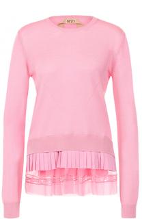 Вязаный пуловер с круглым вырезом и оборками No. 21