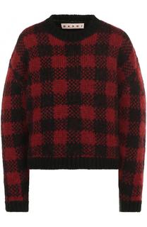Шерстяной пуловер в клетку с круглым вырезом Marni