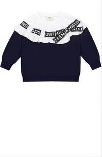 Свитшот с контрастной отделкой и оборкой Fendi Roma