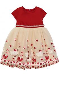 Многослойное платье с завышенной талией и вышивкой Monnalisa