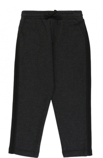 Хлопковые брюки прямого кроя с лампасами на кулиске Dolce & Gabbana