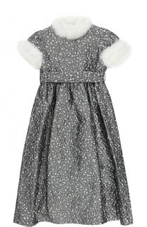 Платье-макси с поясом на завышенной талии и металлизированным принтом с декоративной отделкой Il Gufo
