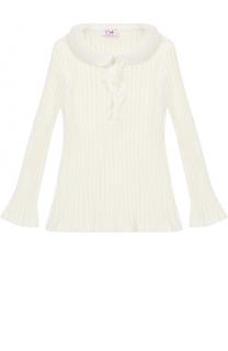 Хлопковая блуза фактурной вязки с оборками Il Gufo