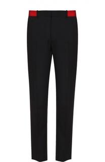 Шерстяные брюки прямого кроя с контрастным поясом Alexander McQueen