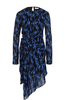 Платье асимметричного кроя с драпировкой и принтом Saint Laurent