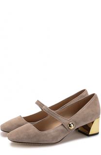 Замшевые туфли с ремешком на устойчивом каблуке Tory Burch