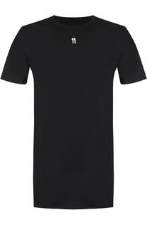 Хлопковая удлиненная футболка с нашивками 11 by Boris Bidjan Saberi
